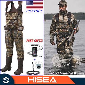HISEA 600G Insulated Neoprene Hunting Waders Rubber Bootfoot Chest Fishing Wader