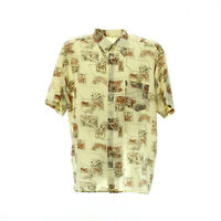 Herren Kurzarmhemd Größe XL Vintage Print Shirt Kentkragen Freizeit Viskose