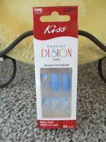 KISS Nails Glue on Matte Blue Flames Long Length Coffin Ballerina Shape Mirage