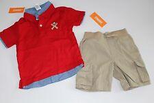Gymboree Home Run Kid Boys Tan Shorts Baseball Shirt Top Set Size 12-18 M NWT