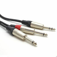 6m 6.35mm 1/4 inch Stereo Jack Plug to Twin Mono 6.35mm Jacks Audio Cable 005933