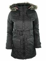 Womens Ladies Brave Soul Belted Faux Fur Warm Quilted Padded Parka Jacket Coat
