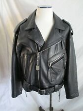North Beach Leather Michael Hoban logo patch classic belt motorcycle jacket XXL