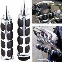 Chrome 1'' Motorcycle Handle Bar End Hand Grips For Yamaha Suzuki Harley Honda