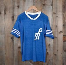 vintage 70s Distressed Softball Jersey PM #44 thin blue rayon v neck XL t-shirt