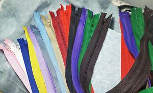 "Regular Nylon Coil Plastic Closed End Zippers 7"" 9"" 12"" 16"" 22"" choose colors"