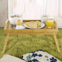 Bamboo Wooden Bed Tray With Folding Leg Serving Breakfast Lap Tray Table Mate A