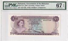 1965 Bahamas 1 /2 Dollar P-17a PMG 67 EPQ Superb Gem UNC