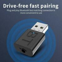 Black Bluetooth 5.0 Audio Transmitter Receiver USB Adapter PC Car Speaker V1Y8