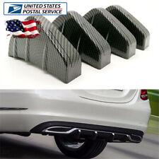 Rear Bumper Lip Diffuser Shark Fin 4Pcs Carbon Fiber Style Universal PVC Plastic