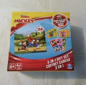 Disney Junior Mickey 3 in 1 Gift Set Puzzle, Memory Match Game and Dominoes