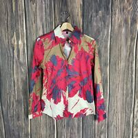 Paperwhite Top Blouse Size 4 Women's Floral Long Sleeve Button-up Colorful