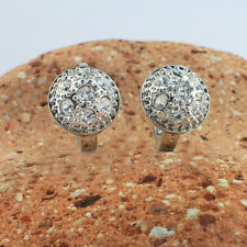 White Gold Filled with Swarovski Crystals Round Huggie Drop Earrings, 10 mm