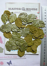 LEAVES SILVER GREY & OLIVE GREEN 50PkPaper - MED 35mmLong x 25mmWide Manor House
