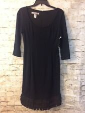 $190 MSRP Anne Klein Black Dress U Neck Knee Length Kilted Hem Size 2 [A276]