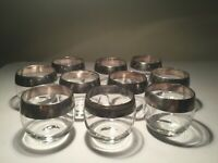 "Vintage Set-10 Dorothy Thorpe Silver Roly Poly Tumbler Glasses 3.25"" Tall-MCM"