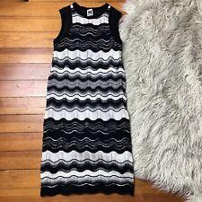 MISSONI Size 6 Black White Striped Sleeveless Stretch Knit Lined Tank Dress