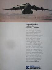 9/1992 PUB PRATT & WHITNEY F117 MILITARY ENGINE USAF C-17 FIRST FLIGHT AD