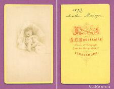 CDV BAUDELAIRE à STRASBOURG : ENFANT MARTHE MONOYER EN POSE EN 1873 -G12