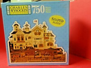 """Shaped Puzzle Charles Wysocki Derby Square 750 PCS. complete 18"""" X 24""""  Hasbro"""
