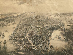 NEW YORK City AND ENVIRONS Kimmel & Foster 1865 Antique Print Birdseye view NYC
