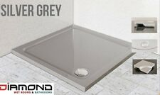 900x900 SILVER GREY Square Diamond Stone Slimline Shower Tray 40mm inc Waste