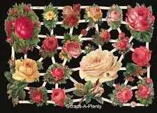 Die Cut Scrap German Victorian Style Embossed - Flowers / Roses & a Bug  EF7344