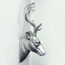 Silver Animal Decoration Art Deer Head Wall Hanger 35cm x 18.5cm x 43cm