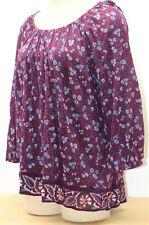 Chaps XL Purple Floral Long Sleeve Peasent Tunic Boho Blouse Shirt