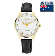 Fashion Black Leather Crystal White Dial Quartz Watch Women Lady Wrist Watch
