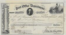 1854 Post Office Dep't Draft (Check) Sign by Postmaster General (James Campbell)