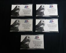 State Quarters Proof Sets (Silver) from 2004-2008, All 5 sets.