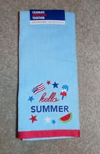 New Celebrate Americana Together Patriotic Flag Hello Summer Bath Hand Towel