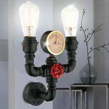 rétro lampe murale Conservatoire éclairage Pipeline Horloge lumière Or Noir