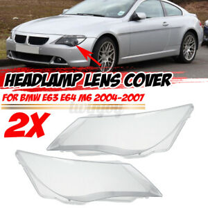 For BMW E63 E64 M6 2004-2007 Pair Left Right Headlight Cover Lamp Lens
