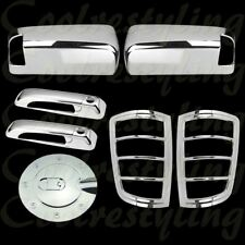 For Dodge Ram 09-16   Chrome Towing Mirror Doors Handle Tail light Gas Cap Cover