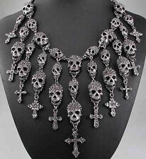 pentand Crystal Bib Statement charm chunky Black Skull collar Chain Necklace 578