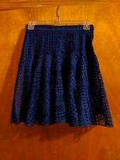 NWT New H&M Skirt 4 Blue Lace High Waist Skater Embroidered Elegant Chic
