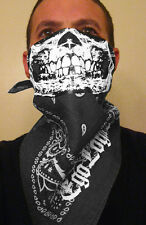 GREY SMOKE PAISLEY WHITE SKULL GRAY BANDANA HALF FACE MASK DUST BUG SHIELD BIKER