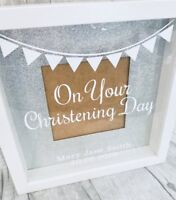 PERSONALISED CHRISTENING Picture Photo BOX FRAME Present BABY GIRL BOY Gift Love