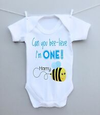 Personalised Baby Bodysuit Vest Grow 1st First Birthday Party Gift Bee