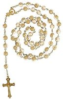 Rosary Rose Bead Necklace Catholic Prayer Beads 1st Holy Communion Gold Cream