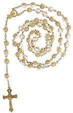 Rosary Rose Bead Necklace Catholic Prayer Beads 1st Holy Communion Gold Cream