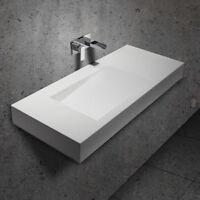 Rectangular Stone Resin Wall-Mounted Bathroom Floating Vanity Sink Glossy White