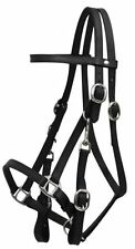 ENGLISH WESTERN MOUNTED POLICE PATROL HORSE BLACK LEATHER HALTER BRIDLE W/ REINS