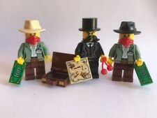 LEGO parts only - 3 mini figures - Wild West BANK ROBBERS suitcase dollars map