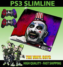 PLAYSTATION 3 SLIM CONSOLE CAPTAIN SPAULDING DEVILS SKIN GRAPHICS & 2 PAD SKINS