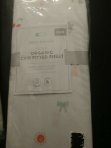 NWT Pottery Barn Kids Piper Rainbow Fitted Crib Sheet white multi colors Organic