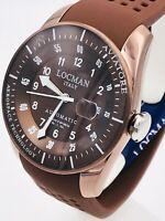 Locman Aviatore Orologio Uomo In Titanio Acciaio Gomma Automatico Meccanico 43mm