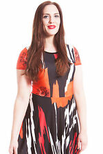 New Womens Dress Plus Size Ladies Skater Animal Abstract Print Fashion Nouvelle